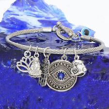 Silver Charm Bangle Bracelet Buddha Hamsa Blue Evil Eye Lotus Flower
