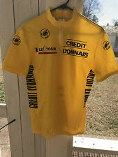 "VINTAGE TOUR DE'FRANCE YELLOW JERSEY ""NO TEAM"" SIZE LARGE MADE BY CASTELLI"
