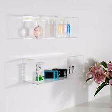 "Set of 3 Crystal Clear Acrylic Floating Storage Wall Mounted Shelves 16"", 5"", 5"""