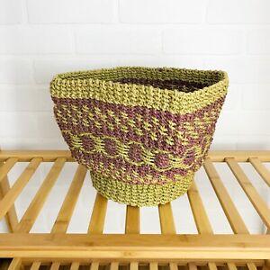 SEAGRASS BASKET Boho Style Decor Planter Woven Rigid Structure Green Purple