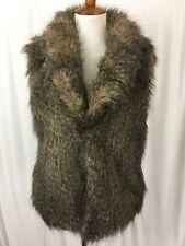 Jack BB Dakota Womens Vest Brown Faux Fur Acrylic Lined Hook Closure Winter Sz L
