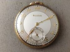 Bulova Pocket Watch 17AH Open Face 17 J 10K Rolled Gold