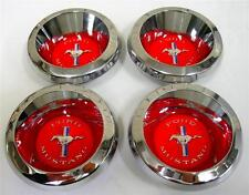 1967 1968 1969 Ford Mustang Wheelcover Chrome Spinner Center Caps Decal Logo SET