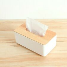 Tissue Box Dispenser Wooden Covers Paper Storage Holder Napkin Case Organizer