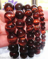 """Fashion 8/10/12/16/20mm Natural Red Tiger's Eye Gem Beads Bracelet 7.5"""" Bangle"""