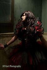 tie on shoulder shurg red black prom formal wedding stole burlesque gothic goth