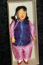 VINTAGE CHINESE CHARACTER COMPOSITION DOLL SAMPAN GIRL IN ORIGINAL BOX
