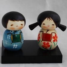 Japonés Kokeshi Doll-Auténtico-Hecho A Mano En Japón-Mejores Amigos Conjunto