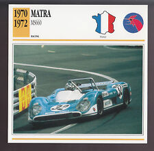 1970 1971 1972 Matra Simca MS660 Le Mans Race Car Photo Spec Info ATLAS CARD