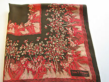 VINTAGE ODILE ST GERMAIN PARIS SILK SCARF BROWN & ORANGE TREES FLORAL FERN FAB!