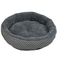 Round Dog Bed Warm Pet Bed Soft Kitten Sleeping Mat Cozy Puppy Nest Grey L