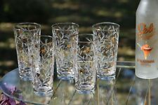 Vintage Cocktail Highball Glasses with Gold and White Designs, Set of 7
