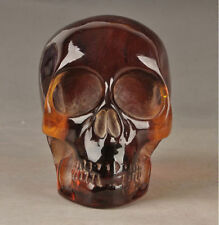 Decorated Handwork Old Amber Carving Skull Nyoi Authorization Statue d02
