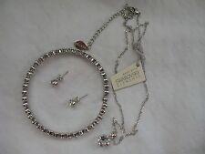 Mestige New Swarovski Elements Bracelet Earrings Necklace Crystal Silver Set