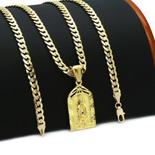 "Mens 14k Gold Plated Garden Guadalupe  Pendant 5mm 24"" Cuban Necklace Chain(K-1)"