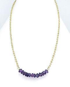 "Delicate 15"" Genuine Beaded Amethyst Gemstone Statement Smile Bar Necklace 9mm"