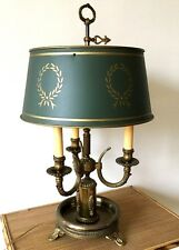 Antique Bouillette Lamp French Empire Style Bronze Green Tole Shade Table Desk