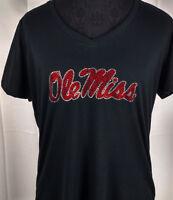 Women's Ole Miss Rhinestone Football V-neck T-Shirt Tee Bling Ladies Bling