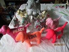 "lot of VICTORIA'S SECRET dogs : Large 10"" x 13"" Vinyl Stuffed PINK DOG, Peace,"
