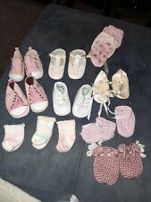 Bundle of 4 newborn baby girl shoes, socks, footies, mittens