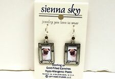 Sienna Sky Pug Puppy Dog Picture Frame Woof  Made USA Sterling EarWires Earrings