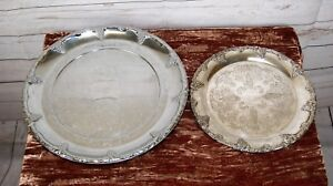 Vintage Silver Plate Round Chased Serving Tray + Lazy Susan Revolving Platter