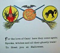 Vintage Halloween Postcard Gibson Ghostly Train Poem Witch Bat Black Cat Unused