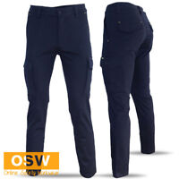 MENS NAVY COTTON STRETCH SLIM FITTED FLEXIBLE SUPERIOR COMFORT WORK TRADIE PANTS