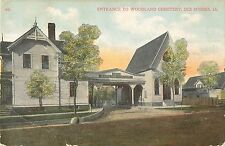 c1910 Entrance to Woodland Cemetery, Des Moines, Iowa Postcard