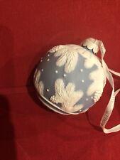 New ListingEstate Wedgwood Blue Jasper Ball Christmas Ornament - Pine Cone & Snow