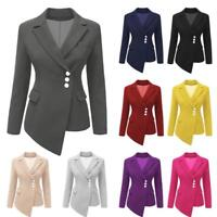Women's Slim Blazer Solid Tops Long Sleeve Coat Suit Button Jacket Coat Outwear