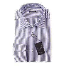 NWT $395 SARTORIO NAPOLI Navy Blue Bengal Stripe Cotton Dress Shirt 15 x 35