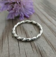 Handmade Sterling Silver 1.5mm Flat Twist stacking ring