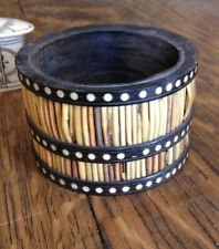 Antique Porcupine Ebony Round Container With Circular Bands Of Inlay