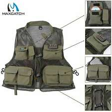 Maxcatch Fly Fishing Mesh Vest Multi-pocket Outdoor Sport Super Light Dark Green
