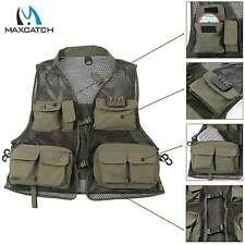 Maxcatch Fly Fishing Mesh Vest Multi-pocket Outdoor Sport Super Light Dark Green