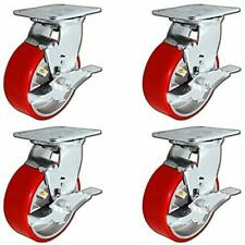 """5"""" x 2"""" Heavy Duty Swivel Caster Set of 4 - Red Polyurethane on Steel Core with"""