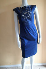 FRENCH CONNECTION dress  sz 6,NAVY BLUE SEQUINS,BEADS, SLEEVELESS be