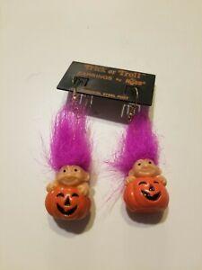 Halloween PUMPKIN RUSS TROLL EARRINGS Jack O Lantern NEW Vintage purple Hair