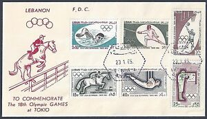 LEBANON 1965 TOKYO OLYMPIC GAMES SET ON FDC WITH CACHET