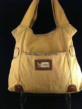 """FOSSIL Vintage ~  Large Tan Shoulder Tote Bag * 12"""" X 4"""" X 15"""" sd 8"""""""
