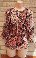 FLORENCE AND FRED PINK WHITE TIE NECK PEPLUM CHIFFON TUNIC CAMI BLOUSE TOP 10 S