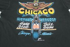 Vtg J&P Promotions Chicago Motorcycle Swap Meet Show Black L Large Tshirt