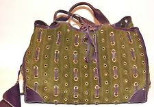 AUTHENTIC CAR SHOE OLIVE SUEDE & RAISIN LEATHER STUDDED TOTE - PRE-OWNED