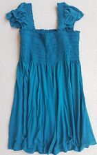 H&M Ruched Sleeveless Frilly Jersey Top T Shirt Tunic Turquoise Size Medium