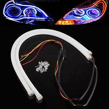 2xFlexible 60cm blue+Amber Switchback Guide LED Strip Tube DRL Turn Signal Light