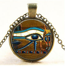 Eye of Ra - Egyptian Sun God Cabochon bronze Glass Chain Pendant Necklace #744