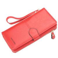 Women's Large Luxury RFID Blocking Leather Wallet Zipper Ladies Clutch Purse