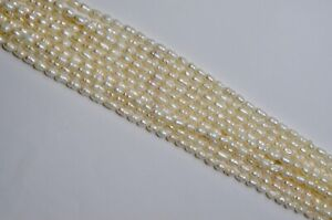 Freshwater Pearl Plain Rice Beads 4mm White 34cm. strand Loose, Jewellery Making