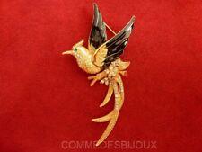 """Broche """"Phoenix"""" dorée Noir Blanc Oiseau de Feu Mythique - Bijoux Vintage Sphinx"""